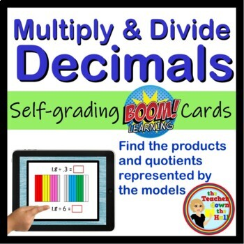 Multiply and Divide Decimals - BOOM Cards! (24 Self-checking Cards)