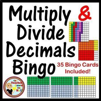 Decimals - Multiply and Divide Decimals Bingo -  w/ 35 Bin