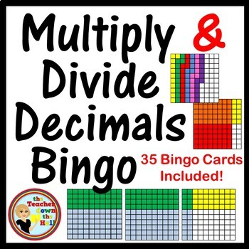 Decimals - Multiply and Divide Decimals Bingo -  w/ 35 Bingo Cards!