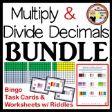 Multiply and Divide Decimals - Bingo, Task Cards, and Worksheets w/ Riddles!