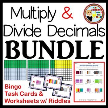 A Decimals - Mult. & Div. Decimals -Bingo, Task Cards, & W