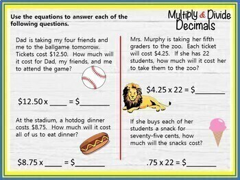 Multiply and Divide Decimals - GOOGLE INTERACTIVE CLASSROOM!