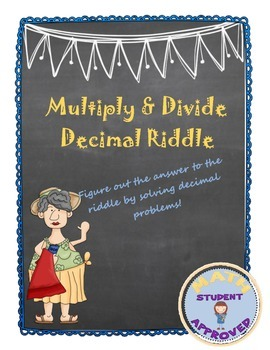 Multiply and Divide Decimals Puzzle/Riddle (fun activity)