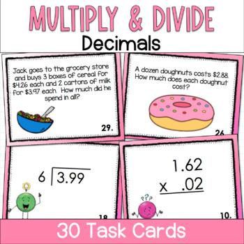 Multiply and Divide Decimals Task Cards- Set of 30