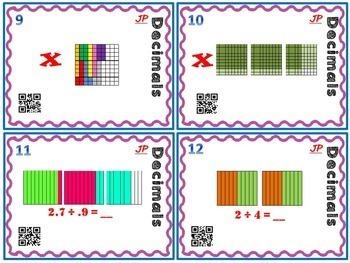 Decimals - Multiply and Divide Decimals Task Cards w/ Models and QR Codes