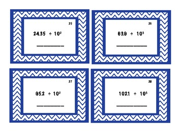 Multiply and Divide Decimals by power of 10s - task cards and bingo!