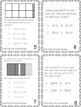Multiply and Divide Decimals with and without models Test Prep Task Cards