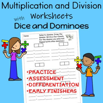 Multiplication and Division Worksheets With Dice and Dominoes