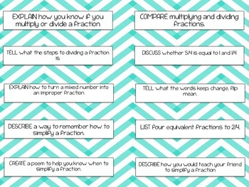 Multiply and Divide Fraction Journal Prompts