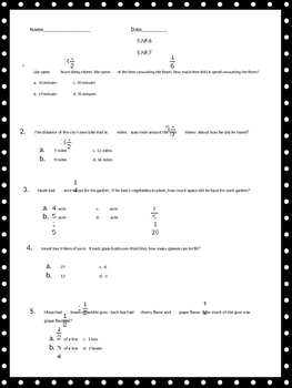 Multiply and Divide Fraction Word Problems
