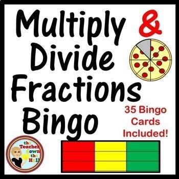 Fractions - Multiply and Divide Fractions Bingo w/ 35 Bingo Cards!