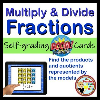 Multiply and Divide Fractions - BOOM Cards!  (24 Self-checking Cards)
