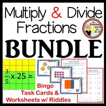 FRACTIONS- Mult./Div. Fractions BUNDLE- Bingo/Task Cards/W