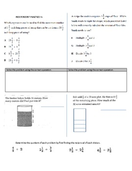 Multiply and Divide Fractions Class Work