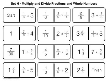 Multiply and Divide Fractions Dominoes Game