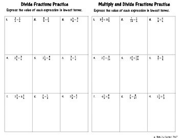 Multiply and Divide Fractions Foldable for Interactive Notebook