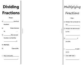 Multiply and Divide Fractions Foldable Notes