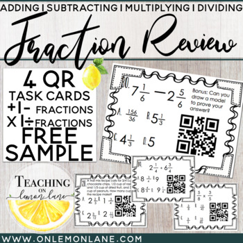 Multiply and Divide Fractions QR Code Freebie Task Cards
