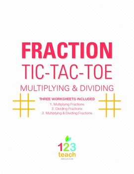 Multiply and Divide Fractions Review Game - Partner Activity Tic Tac Toe