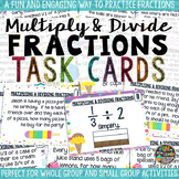 Multiply and Divide Fractions Task Cards & Game with Word Problems Math Review
