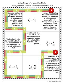 Multiply and Divide Fractions, Whole Numbers and Mixed Numbers Nine Square Craze