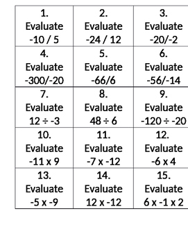 Multiply and Divide Integer Cards