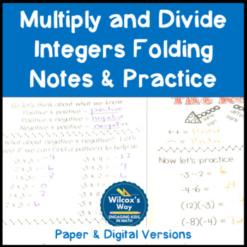 Multiply and Divide Integers Activity/Notes Foldable and Practice