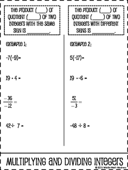 Multiply and Divide Integers Foldable