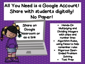 Multiply and Divide Integers for the Google Classroom TEKS 6.3C 6.3D