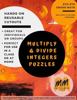 Multiply and Divide Integers Puzzle Penguins