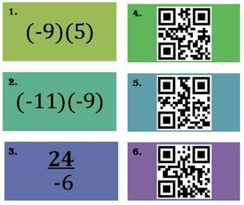 Multiply and Divide Integers (QR and Non QR) Matching activity BUNDLE