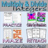 Multiply and Divide Integers Learning Station Resource Pack