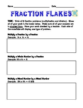 Multiply and Divide Mixed Numbers and Fractions - Fraction Flakes