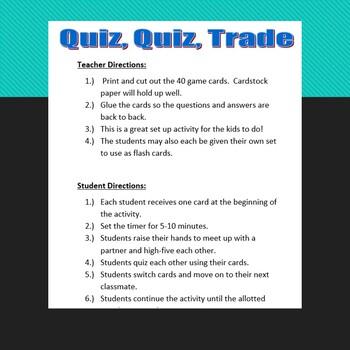 Multiply and Divide Monomials:  Quiz, Quiz, Trade