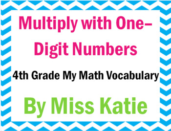 Multiply and Divide One-Digit Numbers 4th Grade My Math Vocabulary Posters