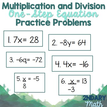 Multiply and Divide One-Step Equations