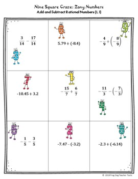Multiply and Divide Rational Numbers Nine Square Craze