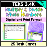 Multiply and Divide Whole Numbers One Step and Two Step Problems - TEKS 3.4K