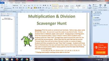 Multiply and Divide Whole Numbers Scavenger Hunt