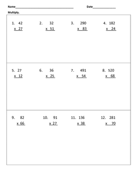 Multiply and Divide Whole Numbers Warm-Ups or Worksheet