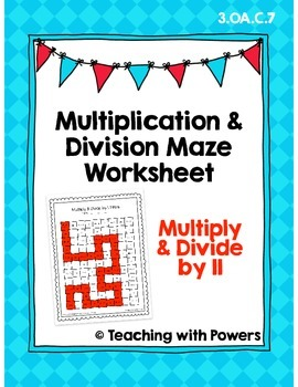 Multiply and Divide by 11 Math Maze Worksheet