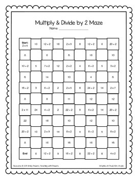Multiply and Divide by 2 Math Maze Worksheet