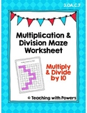 Multiply and Divide by 10 Math Maze Worksheet