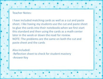 Multiplying by Powers of 10 Matching Activity { Math Center }