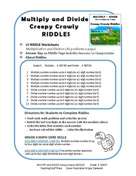 Multiply and Divide to 4-digits x 1-digit  CREEPY CRAWLY RIDDLES | Gr. 4 MATH