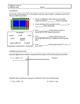 Multiply and Factor Assessment