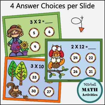 Multiply by 1, 2, and 3 Interactive PowerPoint - Fall Edition