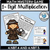 Multiply by 1 digit Game 4.NBT.5 Math Mystery 4th Grade