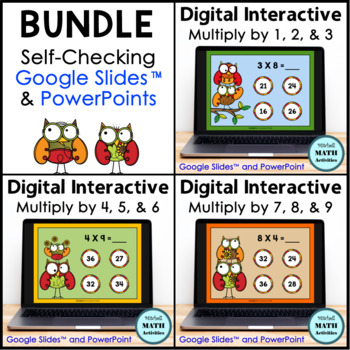 Multiply by 1 through 9 Interactive PowerPoint BUNDLE - Fall Edition