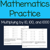 Multiply by 10, 100 & 1000 Worksheets and multiples of 10, 100 & 1000 Worksheets